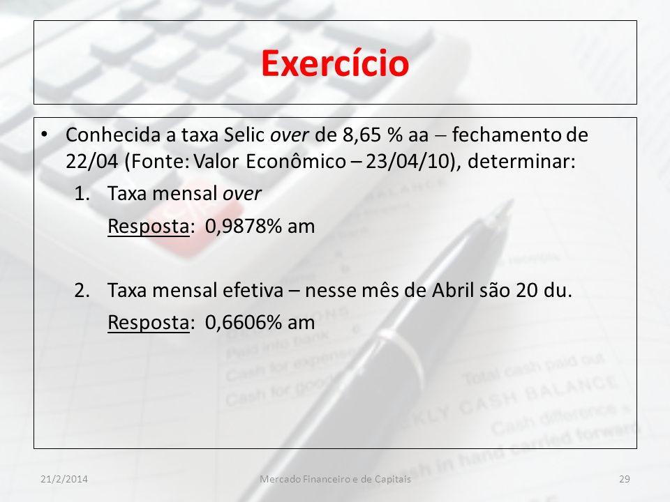 Exercício Conhecida a taxa Selic over de 8,65 % aa fechamento de 22/04 (Fonte: Valor Econômico – 23/04/10), determinar: 1.Taxa mensal over Resposta: 0