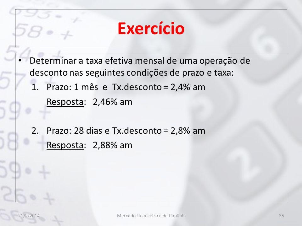 Exercício Determinar a taxa efetiva mensal de uma operação de desconto nas seguintes condições de prazo e taxa: 1.Prazo: 1 mês e Tx.desconto = 2,4% am