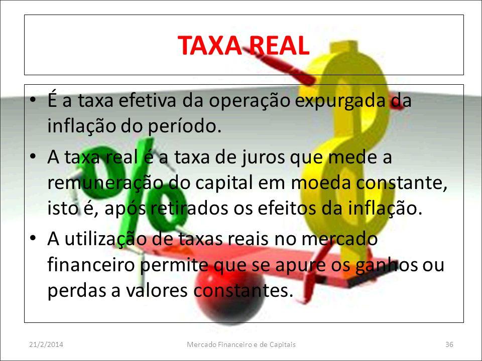 TAXA REAL É a taxa efetiva da operação expurgada da inflação do período. A taxa real é a taxa de juros que mede a remuneração do capital em moeda cons