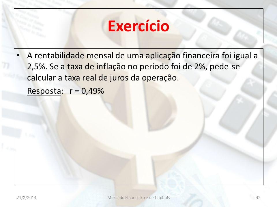 Exercício A rentabilidade mensal de uma aplicação financeira foi igual a 2,5%. Se a taxa de inflação no período foi de 2%, pede-se calcular a taxa rea