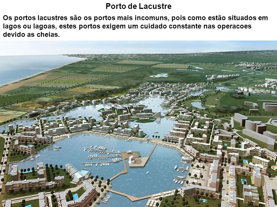 Porto de Lacustre Os portos lacustres são os portos mais incomuns, pois como estão situados em lagos ou lagoas, estes portos exigem um cuidado constan