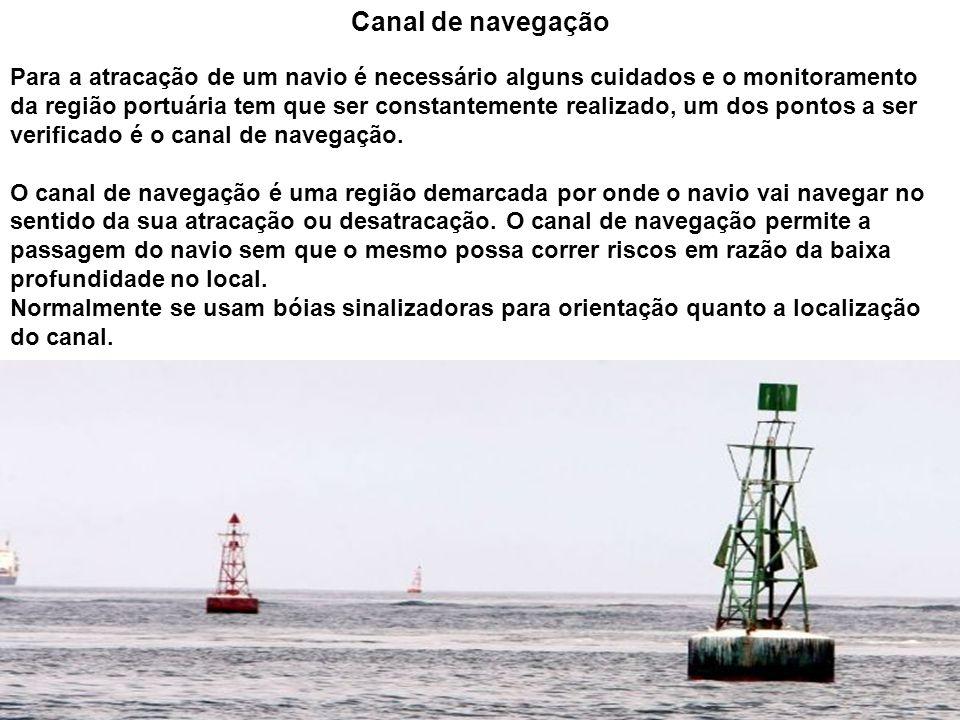 Canal de navegação Para a atracação de um navio é necessário alguns cuidados e o monitoramento da região portuária tem que ser constantemente realizad