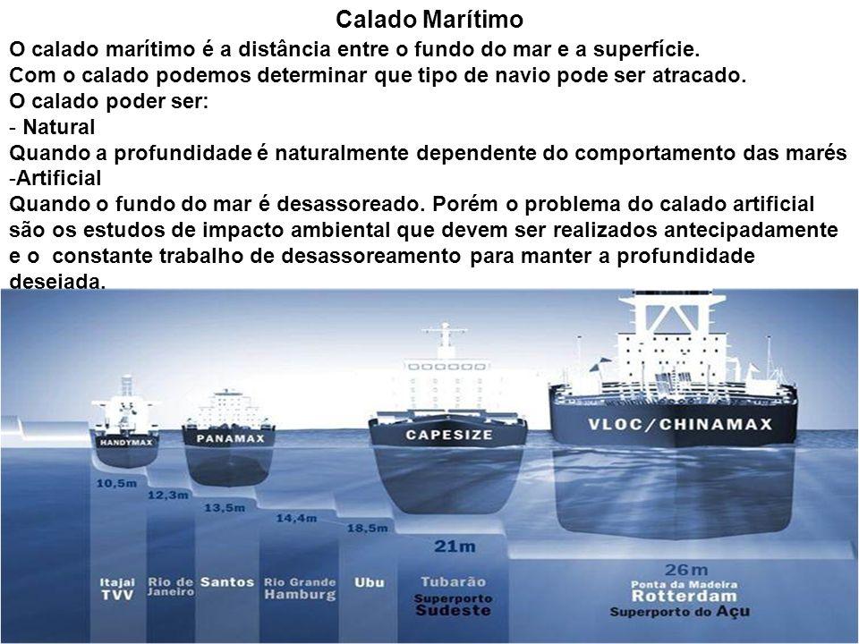Calado Marítimo O calado marítimo é a distância entre o fundo do mar e a superfície. Com o calado podemos determinar que tipo de navio pode ser atraca