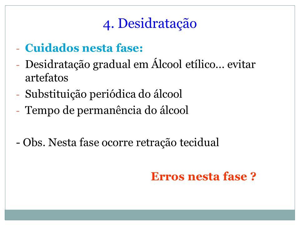 4. Desidratação - Cuidados nesta fase: - Desidratação gradual em Álcool etílico... evitar artefatos - Substituição periódica do álcool - Tempo de perm