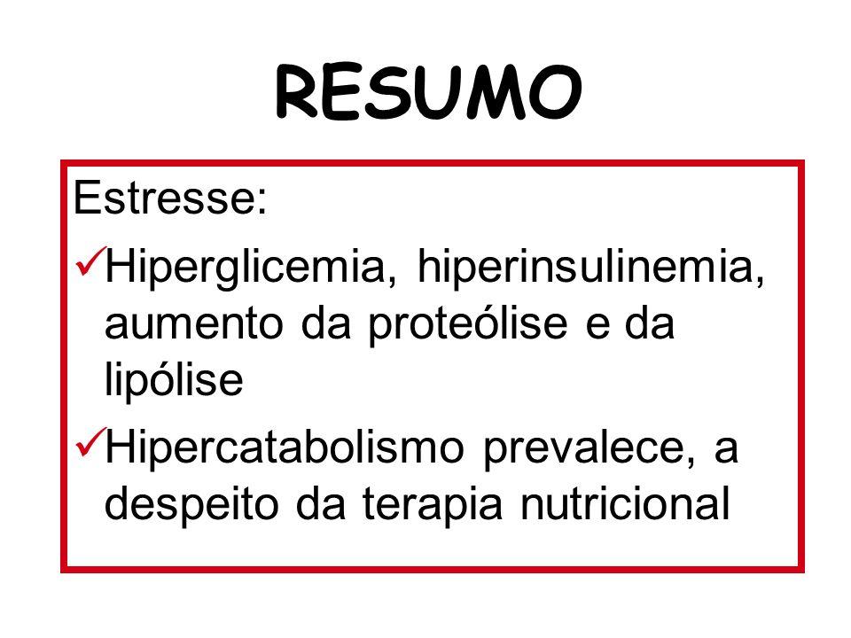 Estresse: Hiperglicemia, hiperinsulinemia, aumento da proteólise e da lipólise Hipercatabolismo prevalece, a despeito da terapia nutricional RESUMO