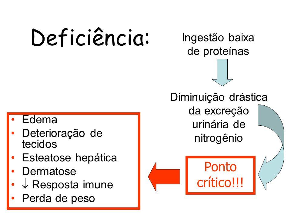 Deficiência: Edema Deterioração de tecidos Esteatose hepática Dermatose Resposta imune Perda de peso Ingestão baixa de proteínas Diminuição drástica d