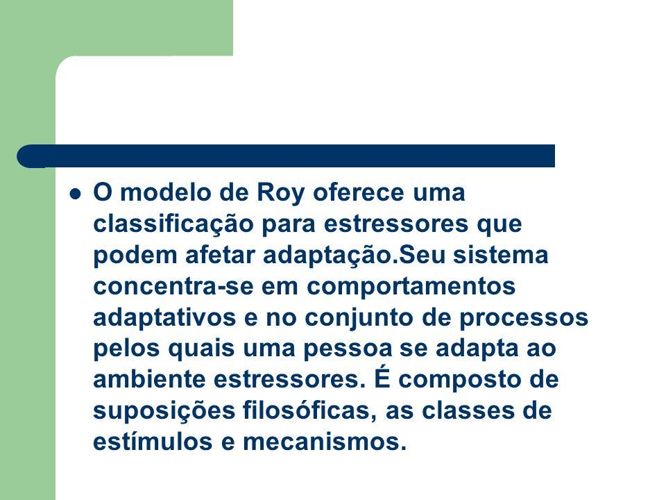 O modelo de Roy oferece uma classificação para estressores que podem afetar adaptação.Seu sistema concentra-se em comportamentos adaptativos e no conj