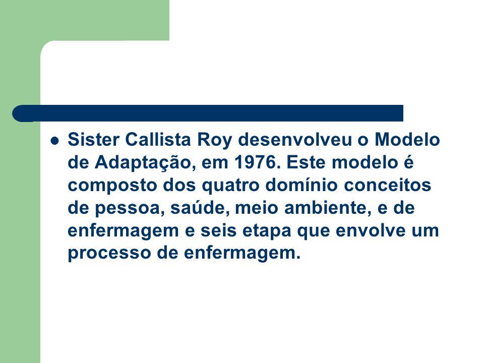 Sister Callista Roy desenvolveu o Modelo de Adaptação, em 1976. Este modelo é composto dos quatro domínio conceitos de pessoa, saúde, meio ambiente, e