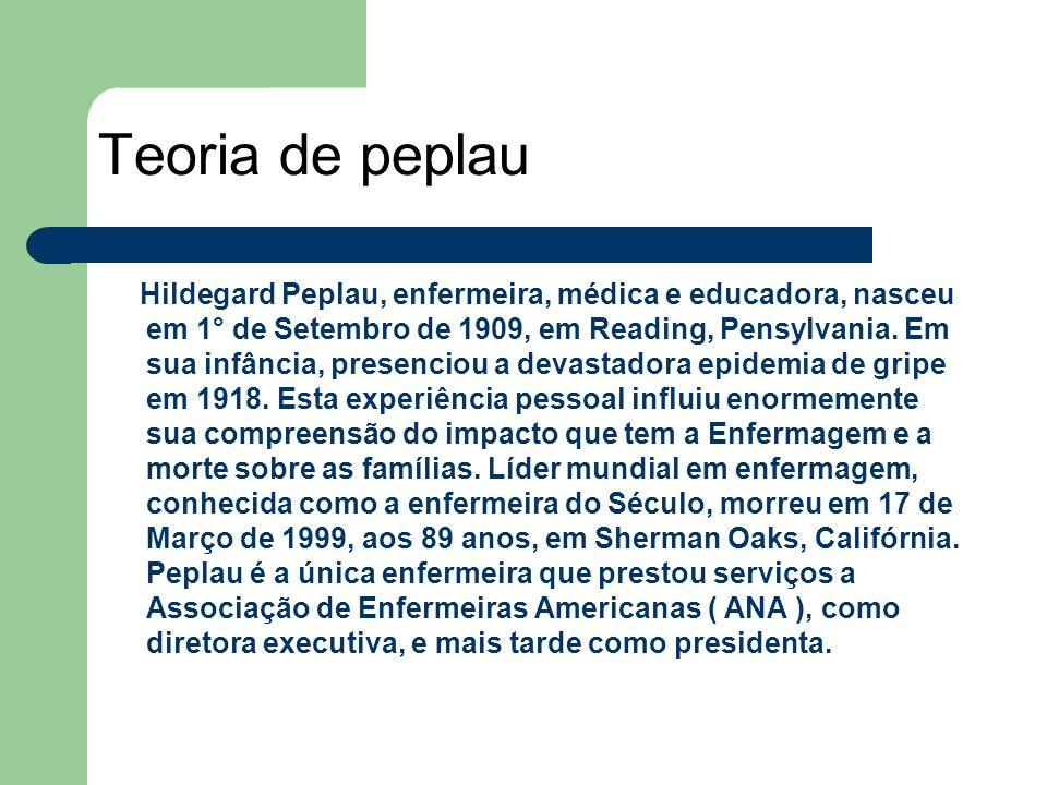 Hildegard Peplau, enfermeira, médica e educadora, nasceu em 1° de Setembro de 1909, em Reading, Pensylvania. Em sua infância, presenciou a devastadora