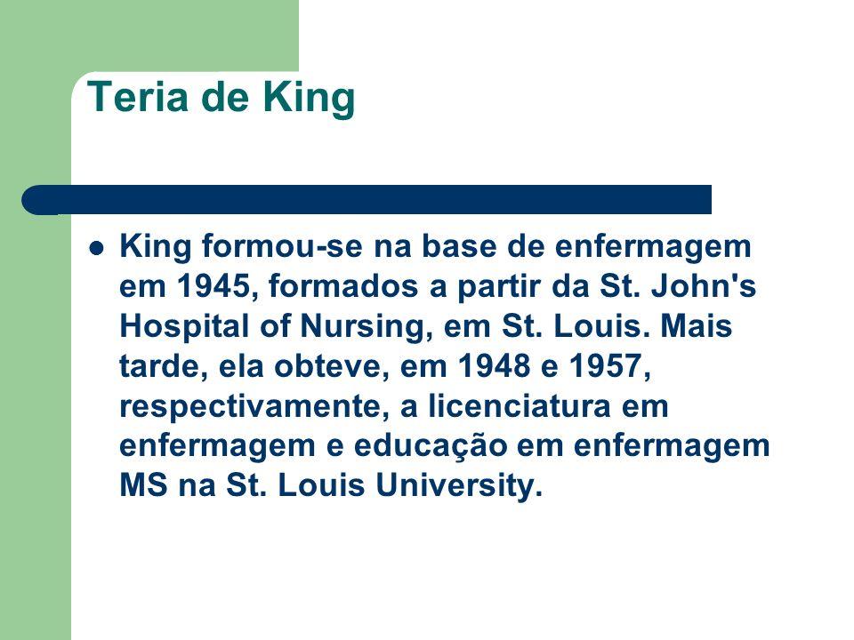 Teria de King King formou-se na base de enfermagem em 1945, formados a partir da St. John's Hospital of Nursing, em St. Louis. Mais tarde, ela obteve,
