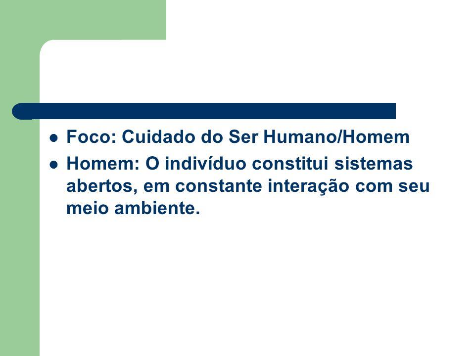 Foco: Cuidado do Ser Humano/Homem Homem: O indivíduo constitui sistemas abertos, em constante interação com seu meio ambiente.