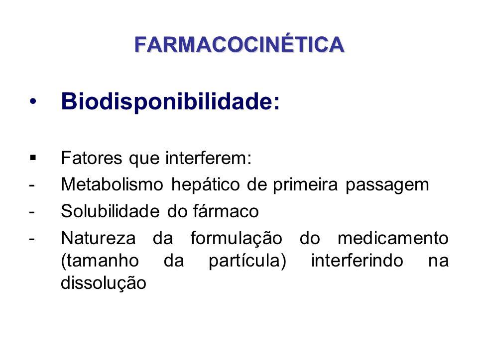 FARMACOCINÉTICA Biodisponibilidade: Fatores que interferem: -Metabolismo hepático de primeira passagem -Solubilidade do fármaco -Natureza da formulaçã