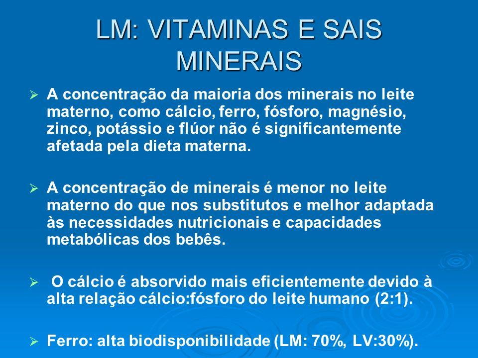LM: VITAMINAS E SAIS MINERAIS A concentração da maioria dos minerais no leite materno, como cálcio, ferro, fósforo, magnésio, zinco, potássio e flúor
