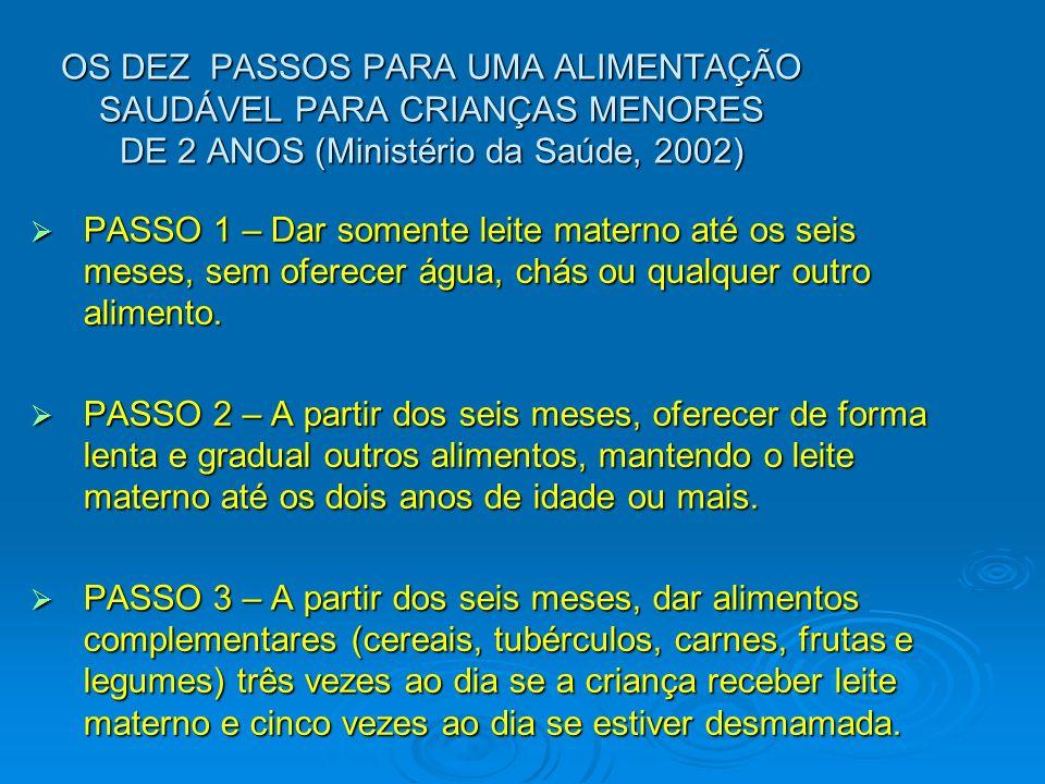 OS DEZ PASSOS PARA UMA ALIMENTAÇÃO SAUDÁVEL PARA CRIANÇAS MENORES DE 2 ANOS (Ministério da Saúde, 2002) PASSO 1 – Dar somente leite materno até os sei