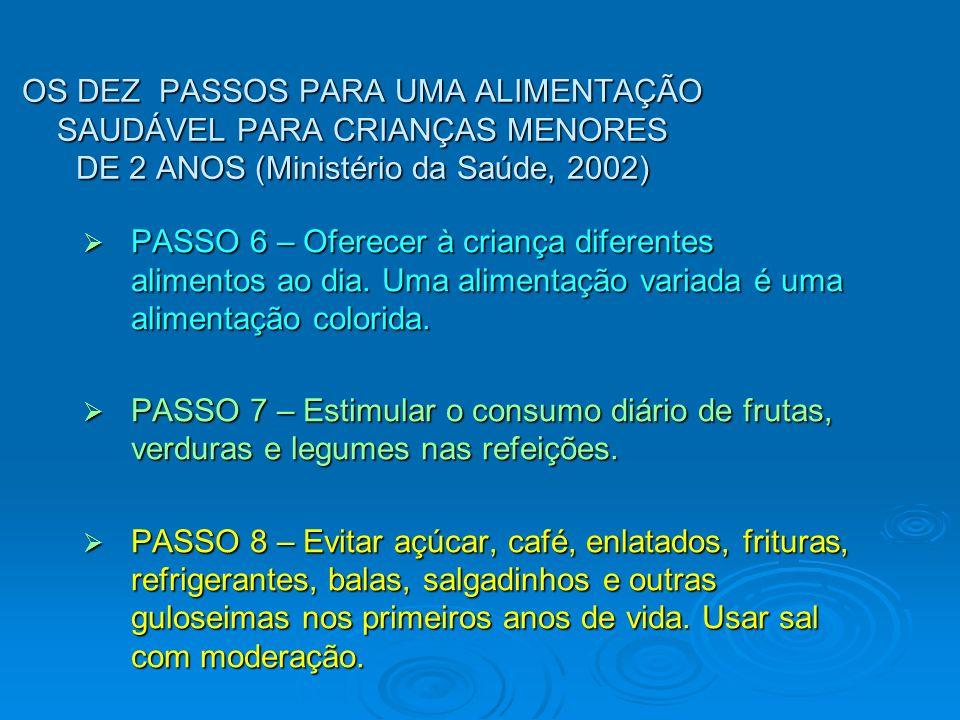 OS DEZ PASSOS PARA UMA ALIMENTAÇÃO SAUDÁVEL PARA CRIANÇAS MENORES DE 2 ANOS (Ministério da Saúde, 2002) PASSO 6 – Oferecer à criança diferentes alimen