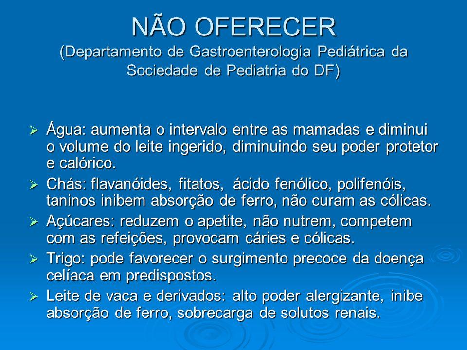 NÃO OFERECER (Departamento de Gastroenterologia Pediátrica da Sociedade de Pediatria do DF) Água: aumenta o intervalo entre as mamadas e diminui o vol