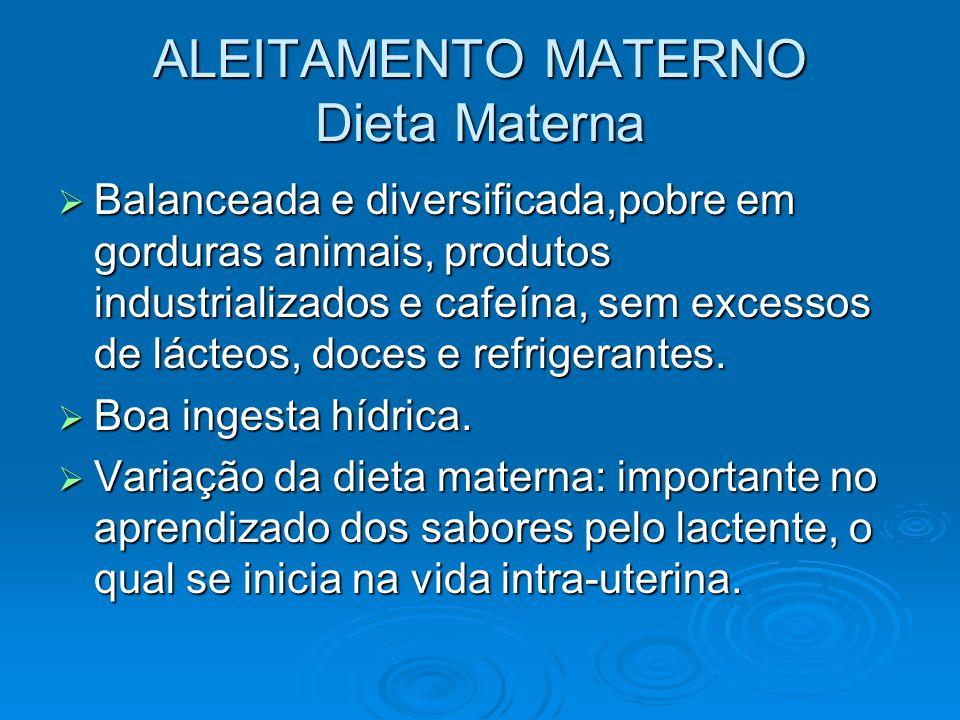 ALEITAMENTO MATERNO Dieta Materna Balanceada e diversificada,pobre em gorduras animais, produtos industrializados e cafeína, sem excessos de lácteos,