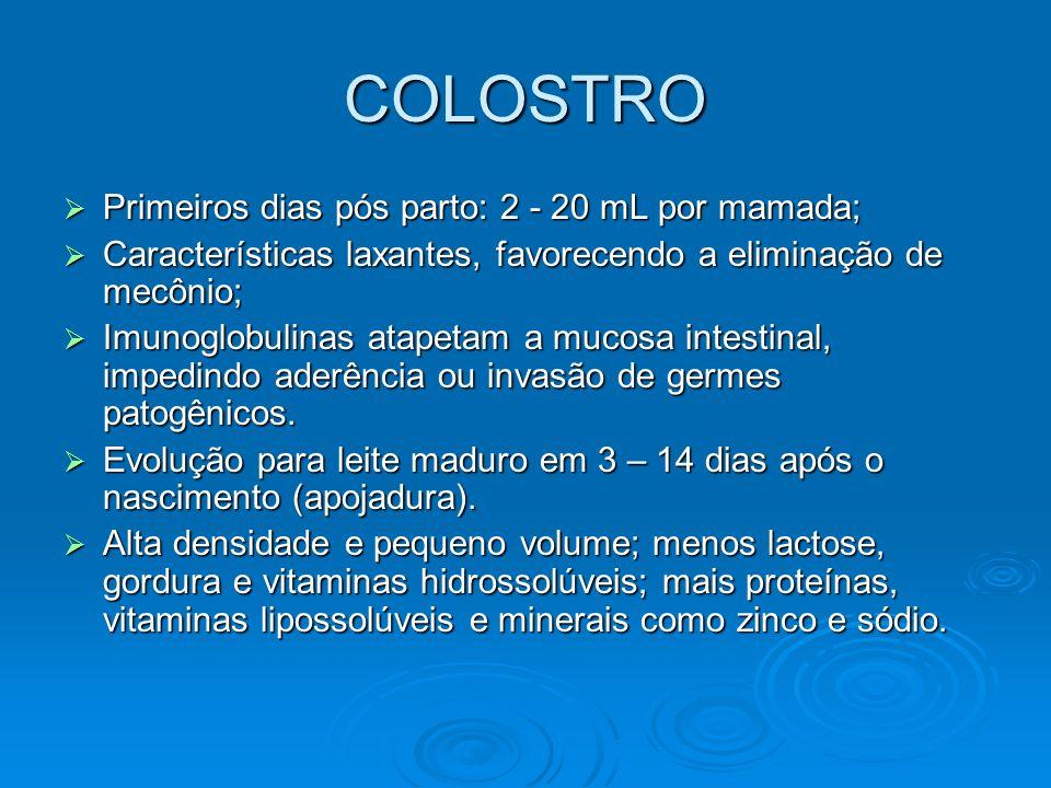 COLOSTRO Primeiros dias pós parto: 2 - 20 mL por mamada; Primeiros dias pós parto: 2 - 20 mL por mamada; Características laxantes, favorecendo a elimi
