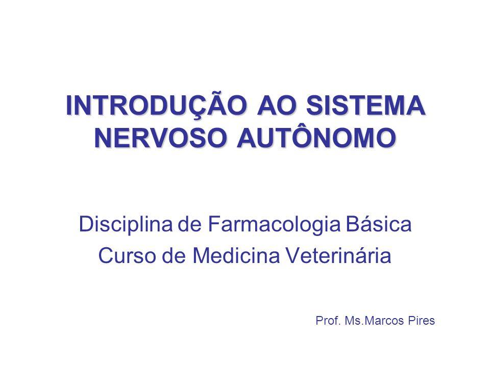INTRODUÇÃO AO SISTEMA NERVOSO AUTÔNOMO Prof. Ms.Marcos Pires Disciplina de Farmacologia Básica Curso de Medicina Veterinária