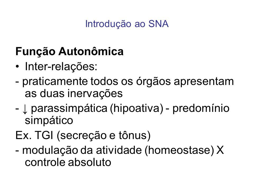 Introdução ao SNA Função Autonômica Inter-relações: - praticamente todos os órgãos apresentam as duas inervações - parassimpática (hipoativa) - predom