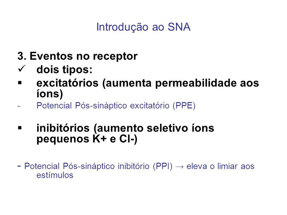 Introdução ao SNA 3. Eventos no receptor dois tipos: excitatórios (aumenta permeabilidade aos íons) -Potencial Pós-sináptico excitatório (PPE) inibitó