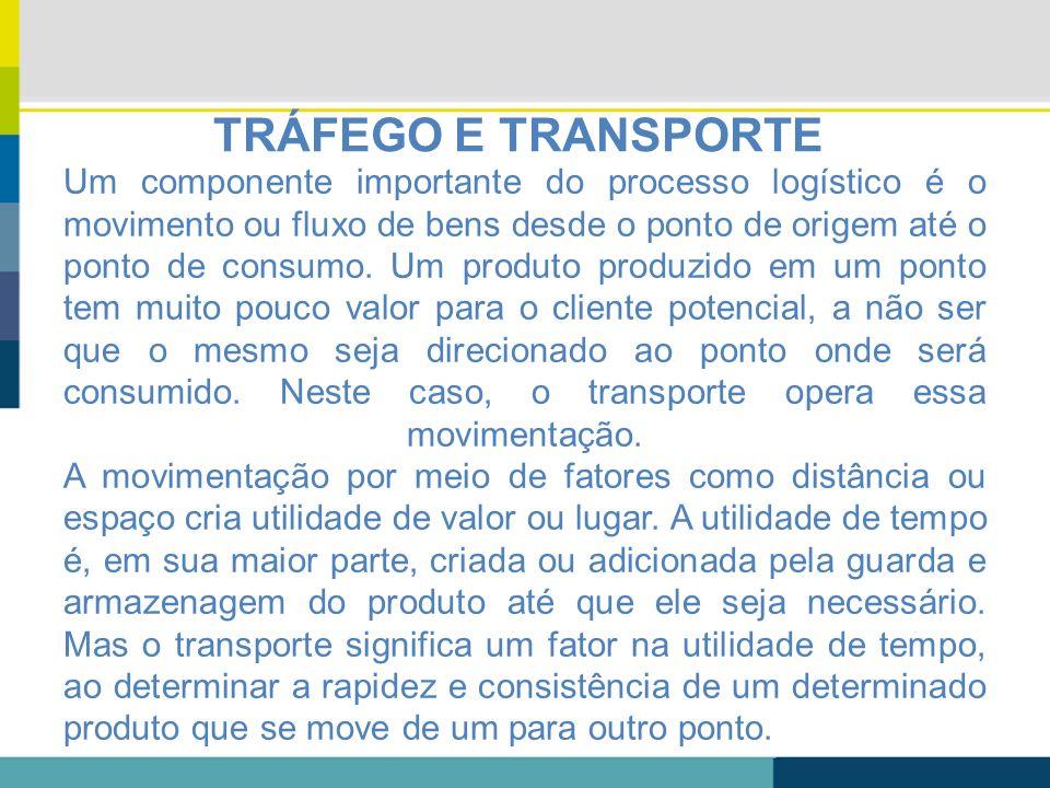 TRÁFEGO E TRANSPORTE Um componente importante do processo logístico é o movimento ou fluxo de bens desde o ponto de origem até o ponto de consumo. Um