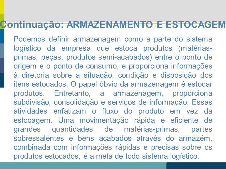 Continuação: ARMAZENAMENTO E ESTOCAGEM Podemos definir armazenagem como a parte do sistema logístico da empresa que estoca produtos (matérias- primas,