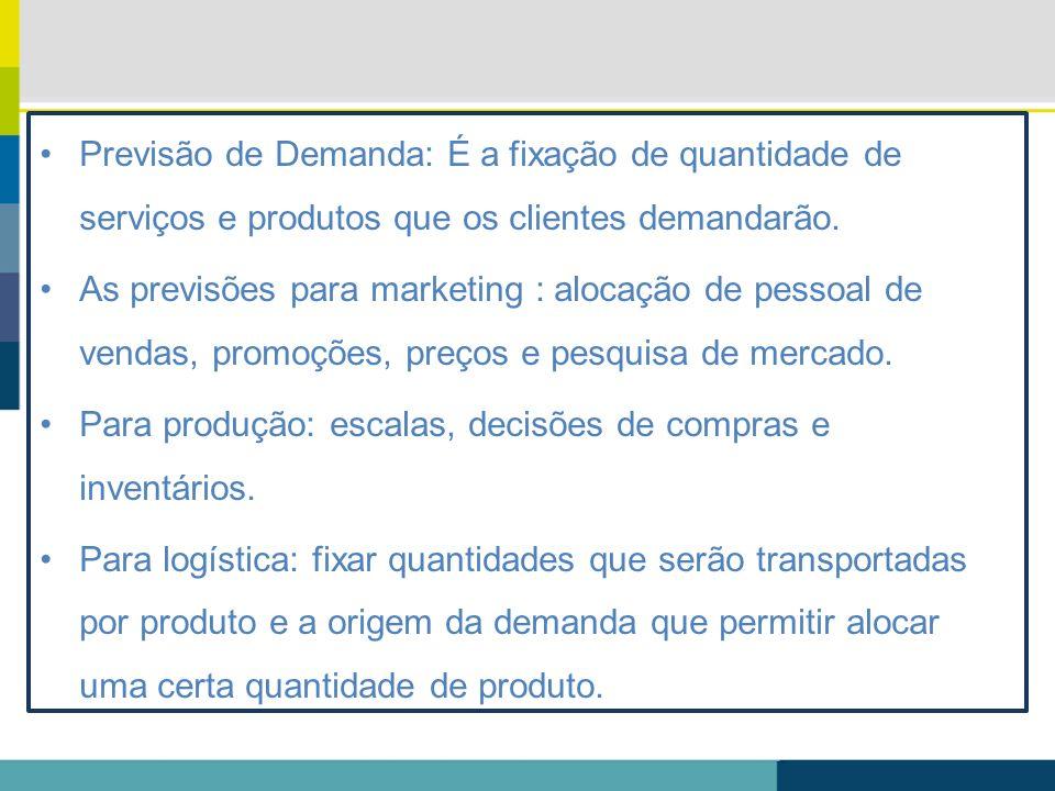 Previsão de Demanda: É a fixação de quantidade de serviços e produtos que os clientes demandarão. As previsões para marketing : alocação de pessoal de