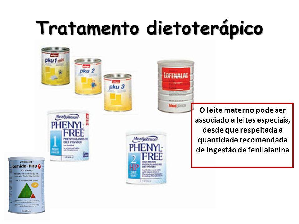 Tratamento dietoterápico O leite materno pode ser associado a leites especiais, desde que respeitada a quantidade recomendada de ingestão de fenilalan