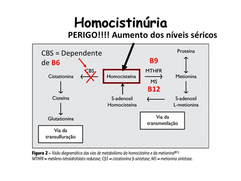 Homocistinúria PERIGO!!!! Aumento dos níveis séricos CBS = Dependente de B6 B9 B12