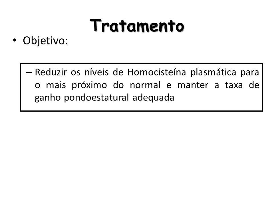 Tratamento Objetivo: – Reduzir os níveis de Homocisteína plasmática para o mais próximo do normal e manter a taxa de ganho pondoestatural adequada