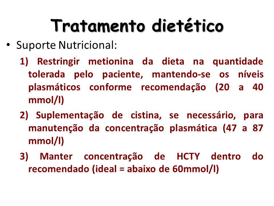 Tratamento dietético Suporte Nutricional: 1) Restringir metionina da dieta na quantidade tolerada pelo paciente, mantendo-se os níveis plasmáticos con