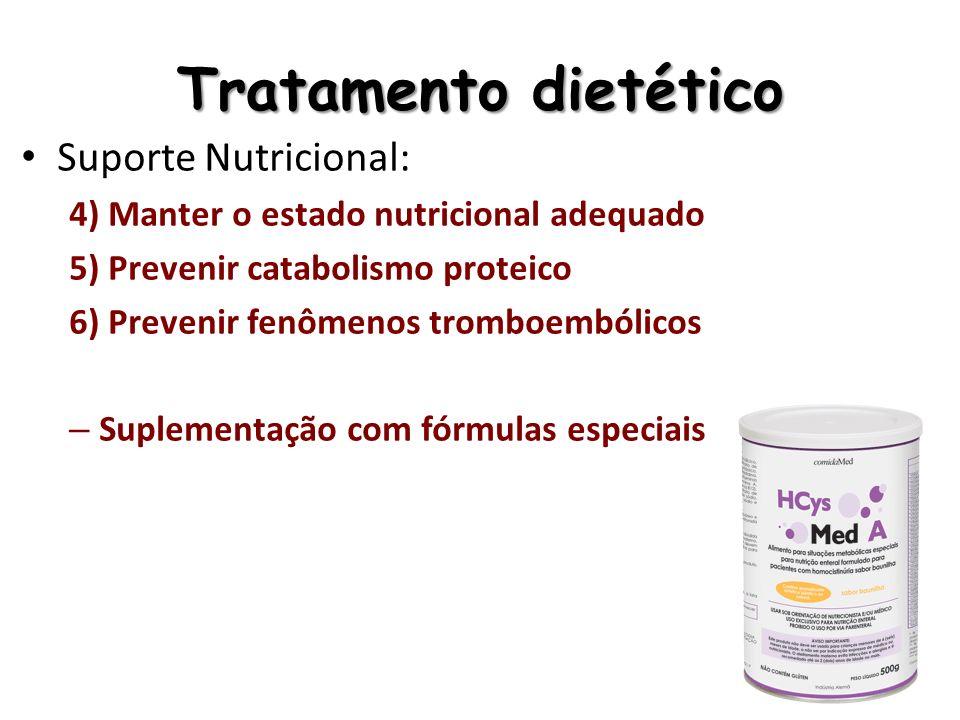 Tratamento dietético Suporte Nutricional: 4) Manter o estado nutricional adequado 5) Prevenir catabolismo proteico 6) Prevenir fenômenos tromboembólic