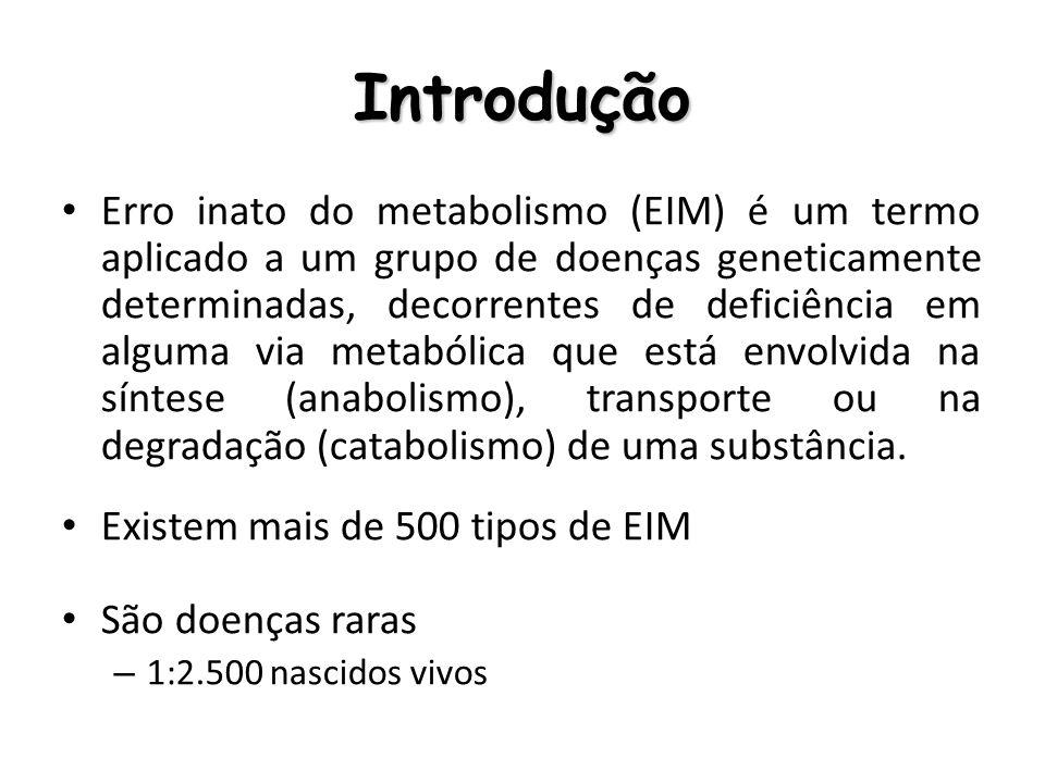 Introdução Erro inato do metabolismo (EIM) é um termo aplicado a um grupo de doenças geneticamente determinadas, decorrentes de deficiência em alguma