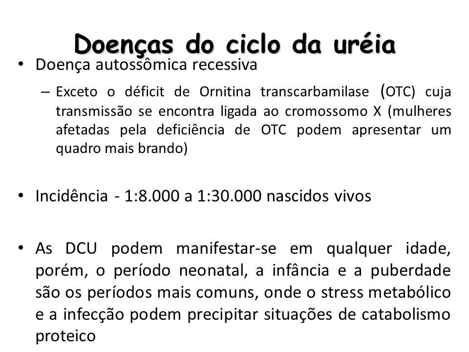 Doenças do ciclo da uréia Doença autossômica recessiva – Exceto o déficit de Ornitina transcarbamilase ( OTC) cuja transmissão se encontra ligada ao c