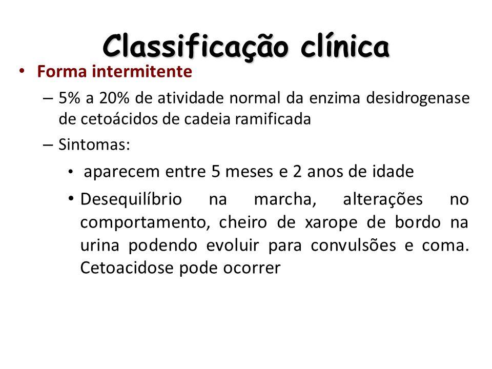 Classificação clínica Forma intermitente – 5% a 20% de atividade normal da enzima desidrogenase de cetoácidos de cadeia ramificada – Sintomas: aparece