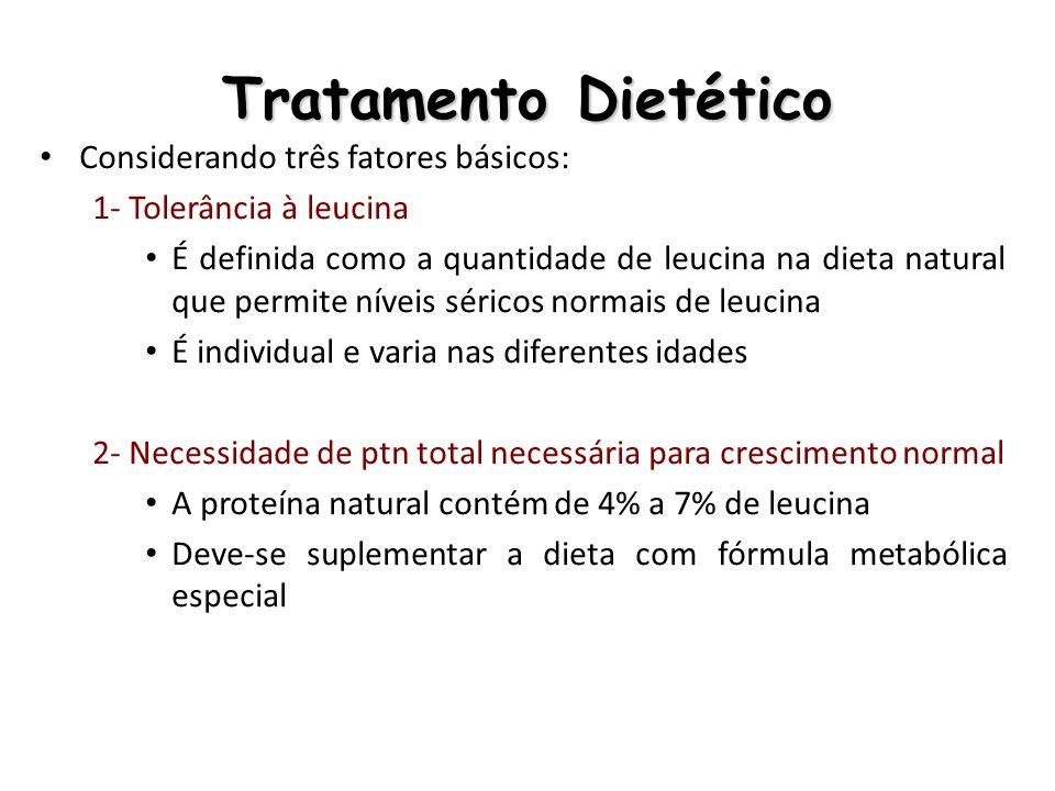 Tratamento Dietético Considerando três fatores básicos: 1- Tolerância à leucina É definida como a quantidade de leucina na dieta natural que permite n