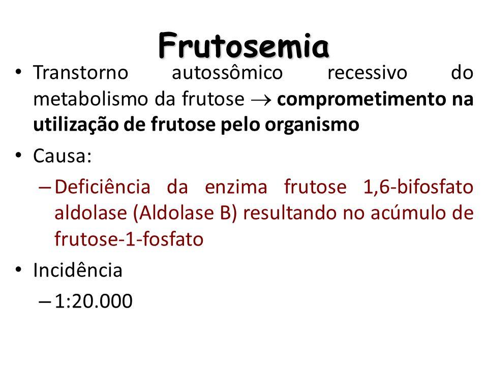 Frutosemia Transtorno autossômico recessivo do metabolismo da frutose comprometimento na utilização de frutose pelo organismo Causa: – Deficiência da