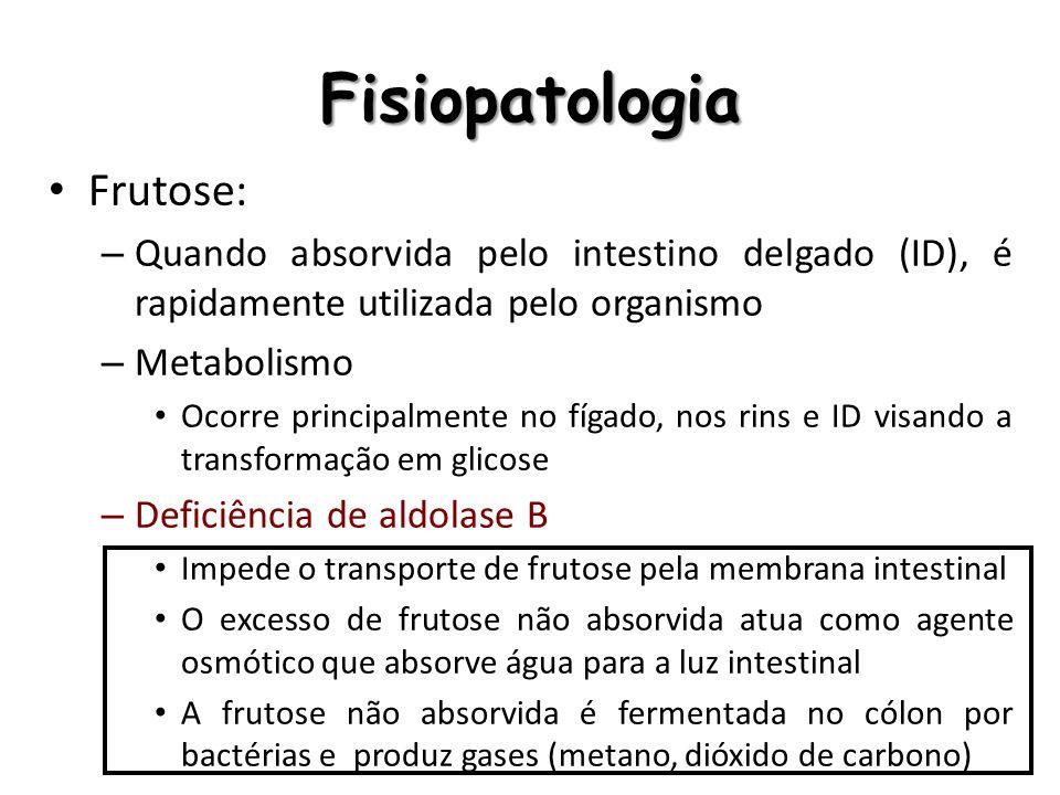 Fisiopatologia Frutose: – Quando absorvida pelo intestino delgado (ID), é rapidamente utilizada pelo organismo – Metabolismo Ocorre principalmente no