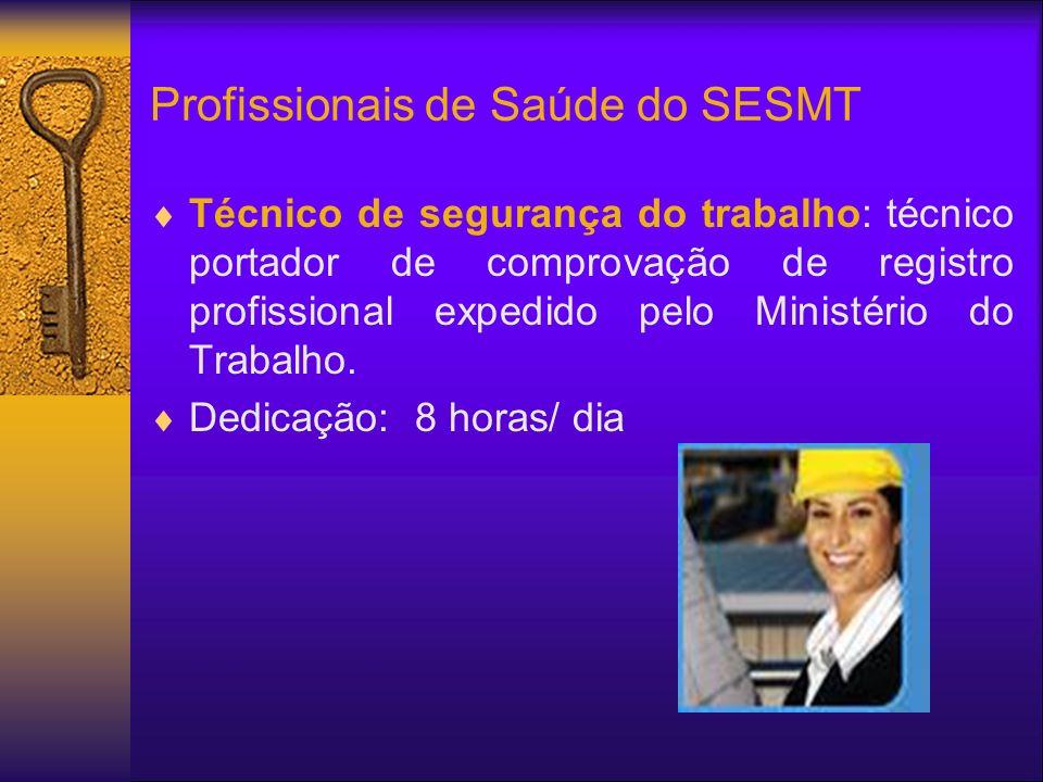 Profissionais de Saúde do SESMT Técnico de segurança do trabalho: técnico portador de comprovação de registro profissional expedido pelo Ministério do Trabalho.