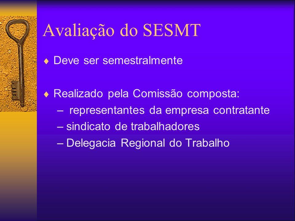 Avaliação do SESMT Deve ser semestralmente Realizado pela Comissão composta: – representantes da empresa contratante –sindicato de trabalhadores –Delegacia Regional do Trabalho