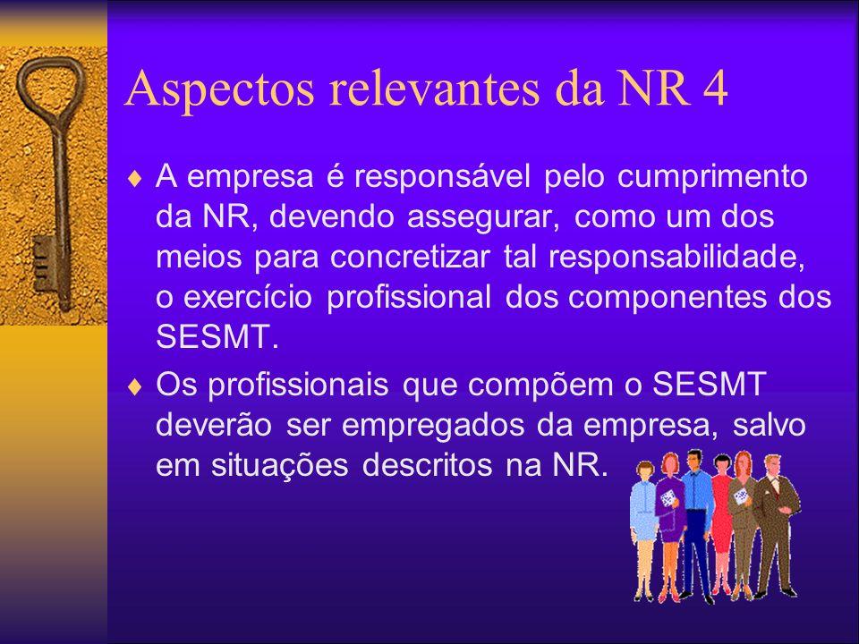 Aspectos relevantes da NR 4 A empresa é responsável pelo cumprimento da NR, devendo assegurar, como um dos meios para concretizar tal responsabilidade, o exercício profissional dos componentes dos SESMT.