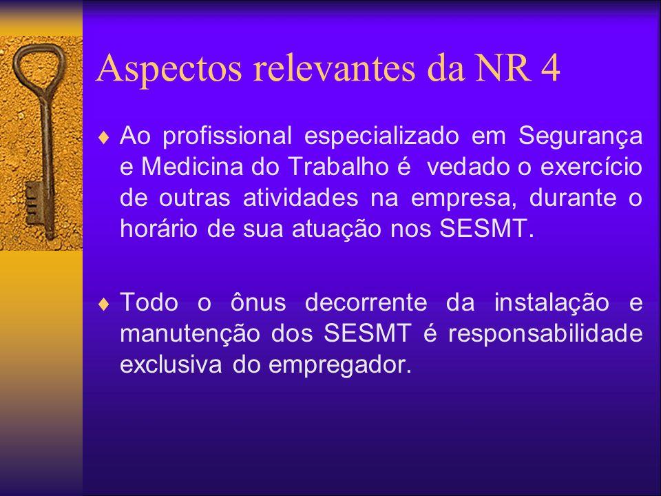 Aspectos relevantes da NR 4 Ao profissional especializado em Segurança e Medicina do Trabalho é vedado o exercício de outras atividades na empresa, durante o horário de sua atuação nos SESMT.