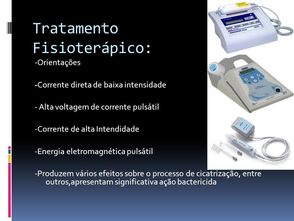 Tratamento Fisioterápico: -Orientações -Corrente direta de baixa intensidade - Alta voltagem de corrente pulsátil -Corrente de alta Intendidade -Energ