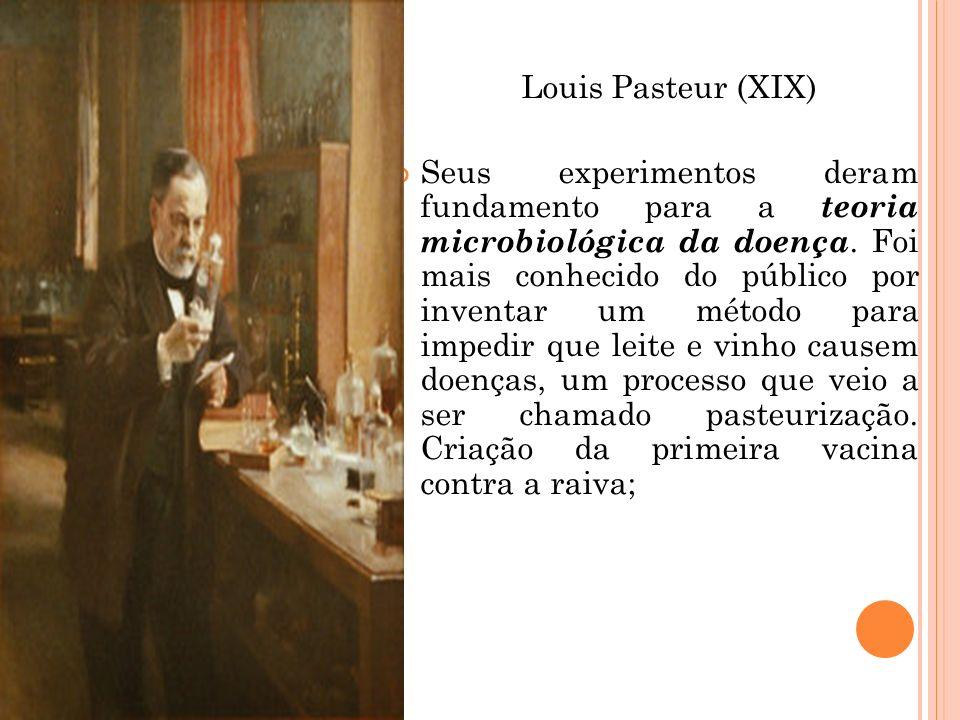 Louis Pasteur (XIX) Seus experimentos deram fundamento para a teoria microbiológica da doença. Foi mais conhecido do público por inventar um método pa