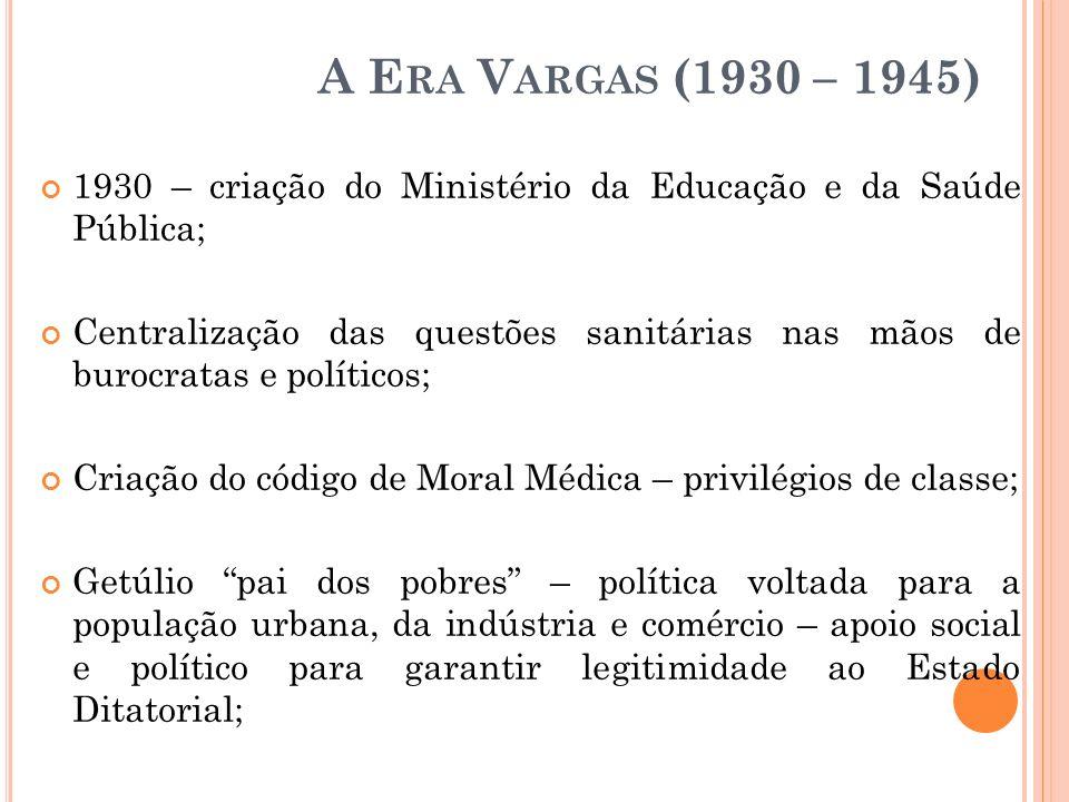 A E RA V ARGAS (1930 – 1945) 1930 – criação do Ministério da Educação e da Saúde Pública; Centralização das questões sanitárias nas mãos de burocratas