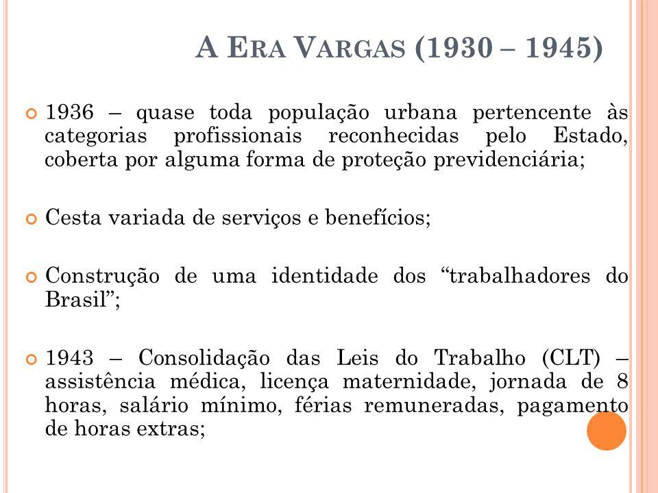 A E RA V ARGAS (1930 – 1945) 1936 – quase toda população urbana pertencente às categorias profissionais reconhecidas pelo Estado, coberta por alguma f