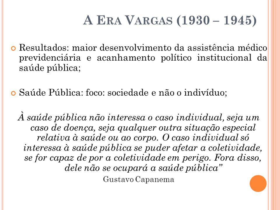 A E RA V ARGAS (1930 – 1945) Resultados: maior desenvolvimento da assistência médico previdenciária e acanhamento político institucional da saúde públ