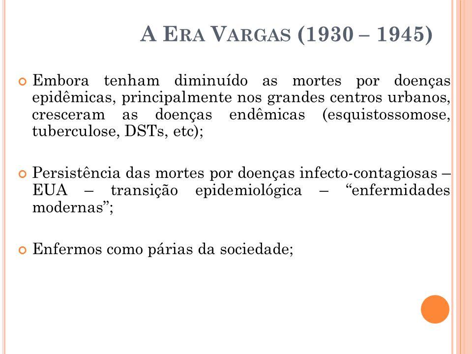 A E RA V ARGAS (1930 – 1945) Embora tenham diminuído as mortes por doenças epidêmicas, principalmente nos grandes centros urbanos, cresceram as doença