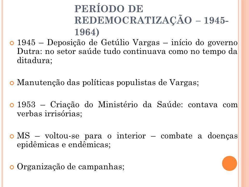 PERÍODO DE REDEMOCRATIZAÇÃO – 1945- 1964) 1945 – Deposição de Getúlio Vargas – início do governo Dutra: no setor saúde tudo continuava como no tempo d